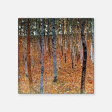 "Gustav Klimt Beech Grove Square Sticker 3"" x 3"""