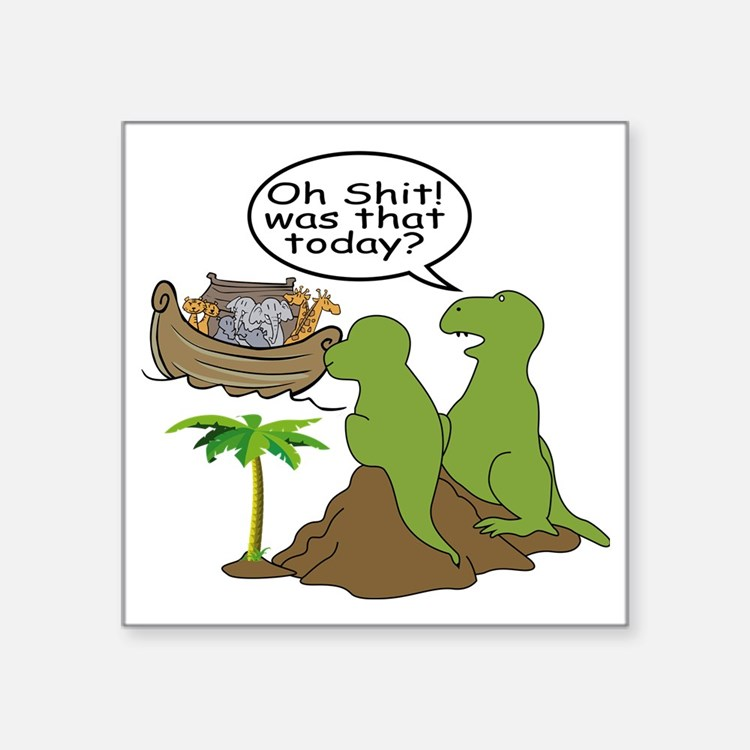"""Noah and T-Rex, Funny Square Sticker 3"""" x 3"""""""