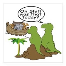 "Noah and T-Rex, Funny Square Car Magnet 3"" x 3"""