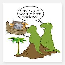 "Noah and T-Rex, Funny Square Car Magnet 3"" x 3"""