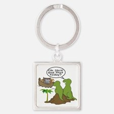 Noah and T-Rex, Funny Square Keychain