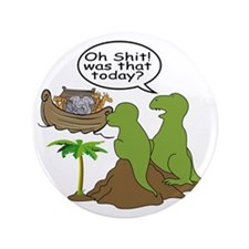 """Noah and T-Rex, Funny 3.5"""" Button"""