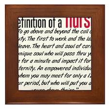 Definition of a nurse Framed Tile