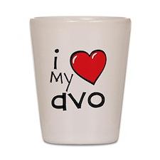 I Love My Avo Shot Glass