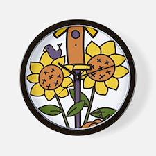 Sunflower Birdhouse Wall Clock