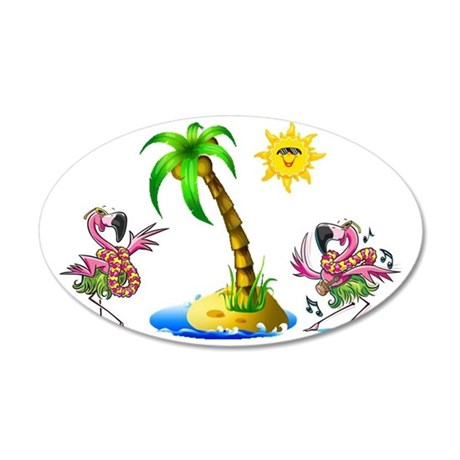 Flamingo's at the beach 35x21 Oval Wall Decal