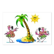 Flamingo's at the beach Postcards (Package of 8)