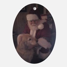 Santa with Hooper the Golden Retriev Oval Ornament