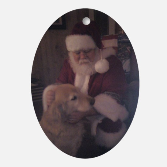 Santa with Hooper the Golden Retriev Oval Ornament
