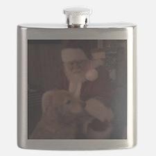 Santa with Hooper the Golden Retriever Flask