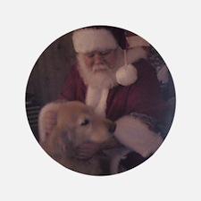 """Santa with Hooper the Golden Retriever 3.5"""" Button"""