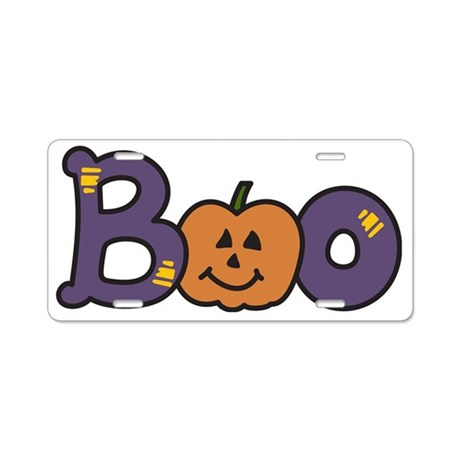 Halloween Boo Aluminum License Plate