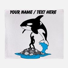 Custom Killer Whale Jumping Over Person Throw Blan