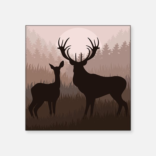"Deer Square Sticker 3"" x 3"""