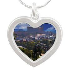 Bratislava Castle Oil Silver Heart Necklace