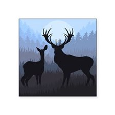 "Deer Square Sticker 3"" x 3"""
