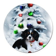 Cavalier King Charles Christmas Round Car Magnet