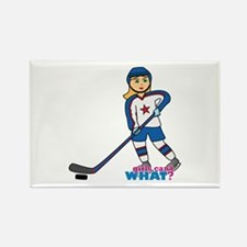 Hockey Player Girl Rectangle Magnet