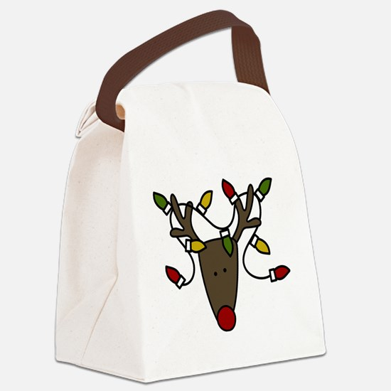 Holiday Reindeer Canvas Lunch Bag