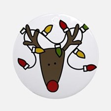 Holiday Reindeer Round Ornament