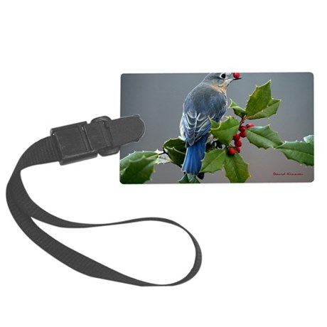 Bluebird and Holly Large Luggage Tag