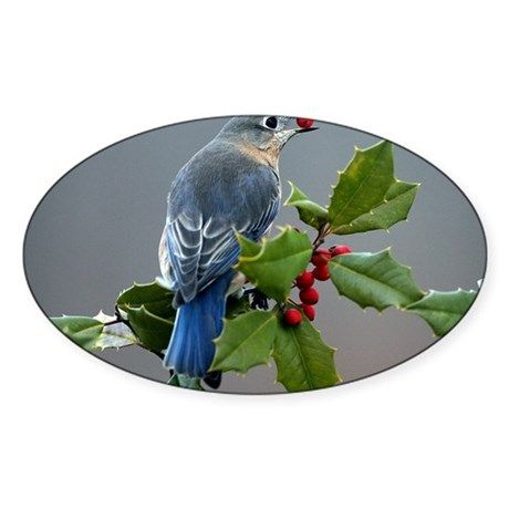 Bluebird and Holly Sticker (Oval)