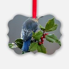 Bluebird and Holly Ornament