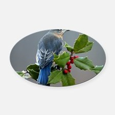 Bluebird and Holly Oval Car Magnet