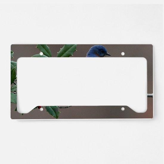Bluebird in Holly License Plate Holder