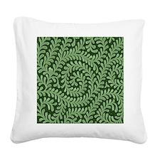 green swirl Square Canvas Pillow