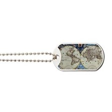 Antique World Map Dog Tags