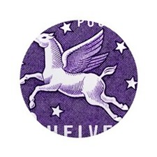 "1957 Switzerland Pegasus Postage Stamp 3.5"" Button"