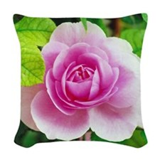 pink rose Woven Throw Pillow