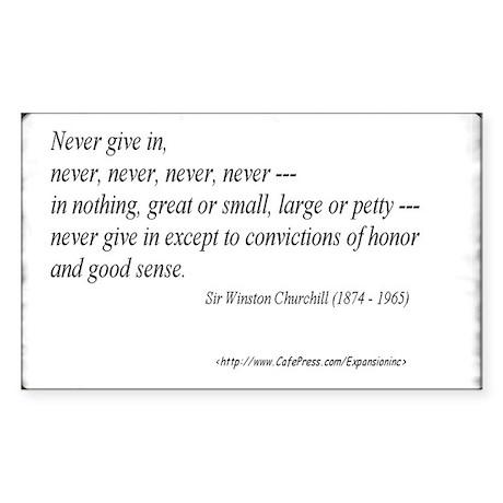 (Never - Churchill - A) Sticker (Rect.)