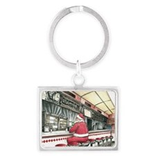 Santa at the Bound Brook Diner, Landscape Keychain