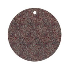 Red Blue Beige Paisley Round Ornament