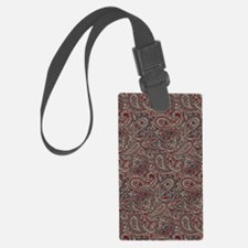 Red Blue Beige Paisley Luggage Tag