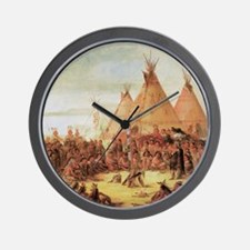 George Catlin Sioux War Council Wall Clock