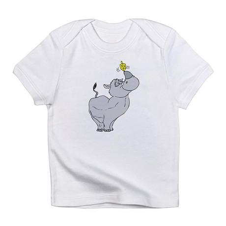 Rhino spinning dreidel on his horn Infant T-Shirt