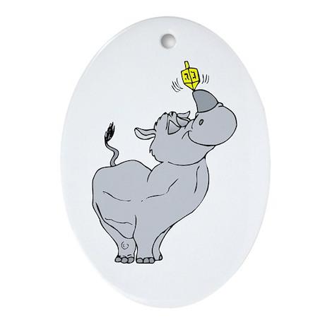 Rhino spinning dreidel on his horn Ornament (Oval)