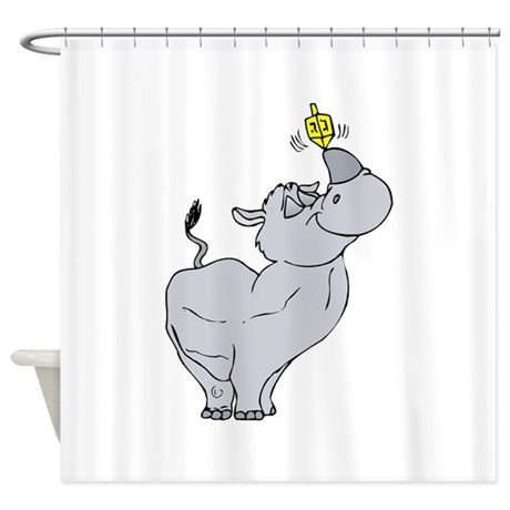 Rhino spinning dreidel on his horn Shower Curtain