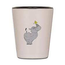 Rhino spinning dreidel on his horn Shot Glass