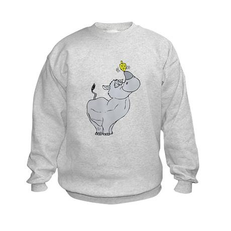 Rhino spinning dreidel on his horn Sweatshirt