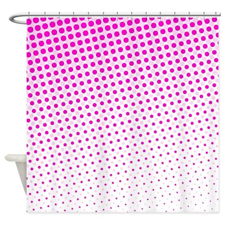 Hot Pink Dots Shower Curtain By Wheepattern