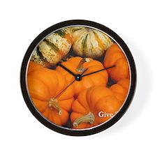 Give Thanks at Pumpkin Time Wall Clock