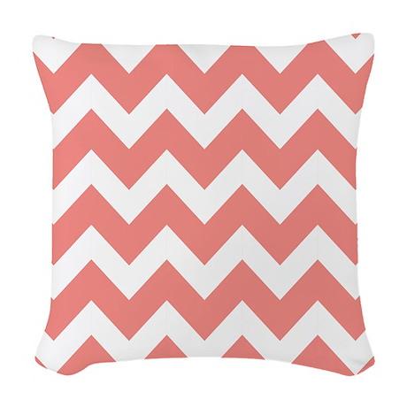 Coral and White Chevron Woven Throw Pillow