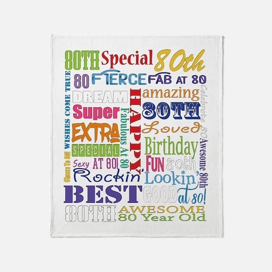 80th Birthday Typography Throw Blanket