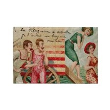 Vintage French Beach Postcard Rectangle Magnet