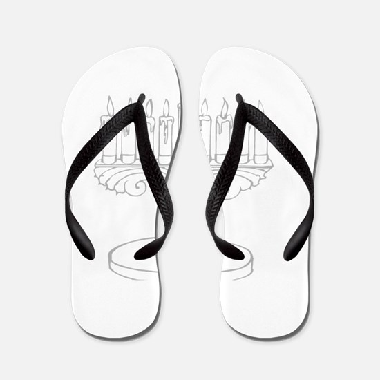 outline of a menorah Flip Flops