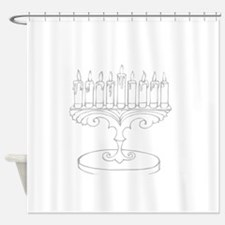 outline of a menorah Shower Curtain
